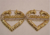 Personalized 14k Gold Overlay/Gold Plate Any Name Heart Bamboo Earrings 3 inch
