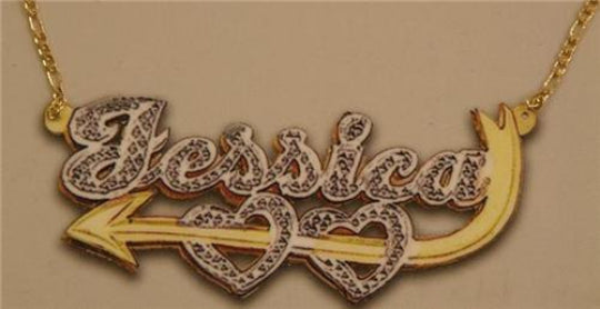 Personalized Gold Overlay Double 3d Any Name Plate Necklace Free Chain /a30