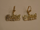 Personalized 14k Gold Overly Any Double Plate Name Dangle Earrings /Gold Plated/a1