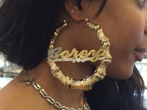 personalized 14k gold overlay any nameplate stud name personalized 14k gold overlay gp any name hoop bamboo
