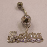 Personalized Silver Plated Single Plate Any Name Belly Ring