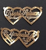 Personalized 14k Gold Plate Any 2 Names Heart Thick Single Plate Necklace Nameplate, comes with thick Chain (Please pick one of the designs)