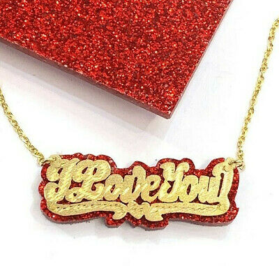 "Personalized 14k Gold Overlay Double Name Plate ""ILoveYou"" Necklace Glitter Sparkle RED Onyx Back"