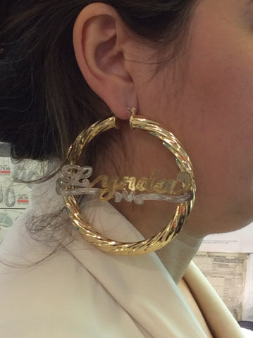 Personalized 14k Gold Overlay Any Name Hoop Earrings Jumbo Bamboo