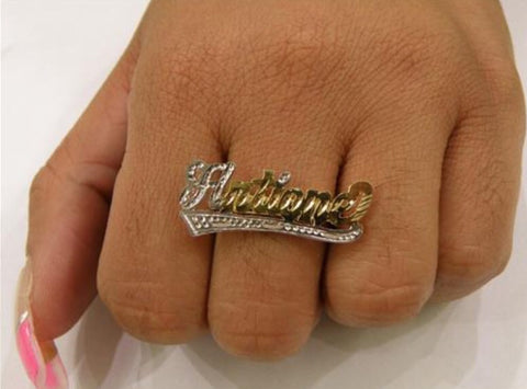 14k Gold Plate Personalized Any Name any size single plate ring