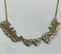 Personalized 14k Gold Overlay Double 3d Any 2 Names Plate Necklace Free Thick Chain