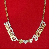 Personalized 14k Gold Overlay Double 3d Any 3 Names Plate Necklace Free Thick Chain