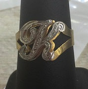 Personalized 14k Gold Plated One Finger Any Initial Double Plate Name Ring.