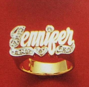 14k Gold Plate Personalized Any Name Any Size Single Plate Ring.