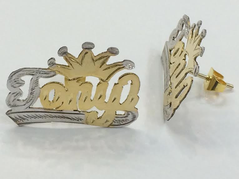 Personalized 14k Gold Plate Any Name Single Plated STUD Earrings with Crown