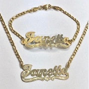 Personalized 14k Gold Plate Single plated Any Name Set Necklace & Bracelet (Thick chain)