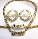 "Personalized 14k Gold Plate Double plated Any Name 3D XOXO Necklace , matching Bracelet & 3"" Hoop Earrings"