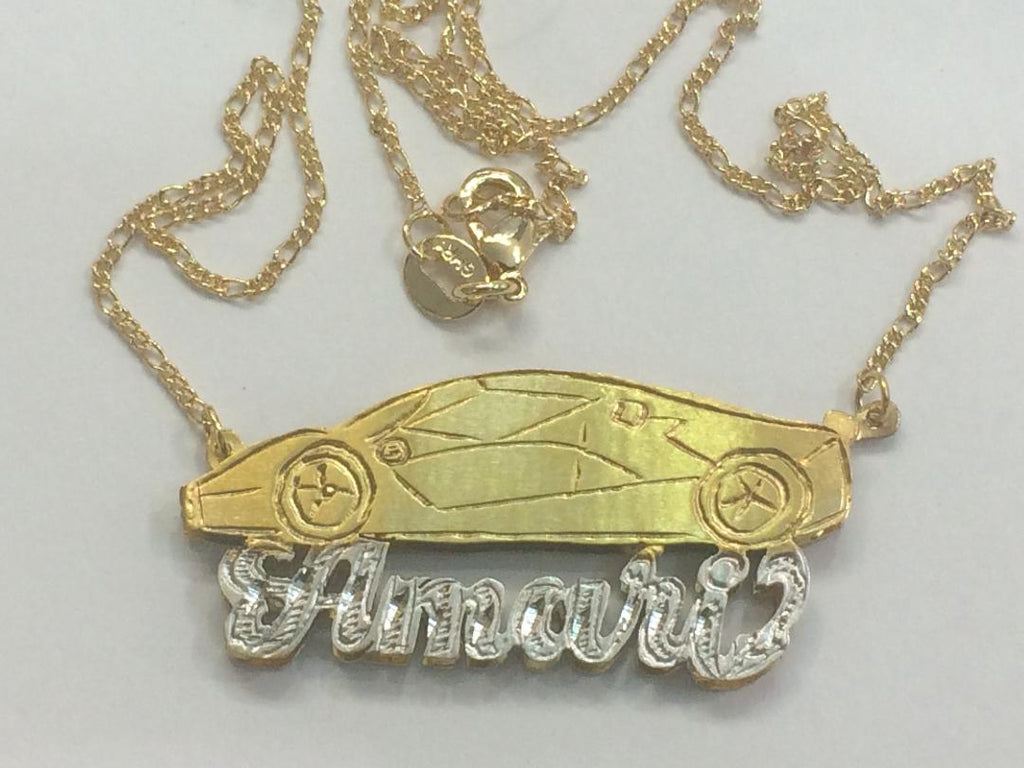 "Personalized 14k Gold Plate Any Name 3D Necklace ""Car"" or Any Cartoon Character"