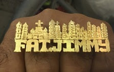 Personalized 14k Gold Plate Any Name 2 Fingers Any Single plate Giant Name Ring/ City/ Sky Scapers