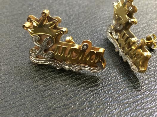Personalized 14k Gold Plate Any Name Double Plated STUD Earrings with Crown/a