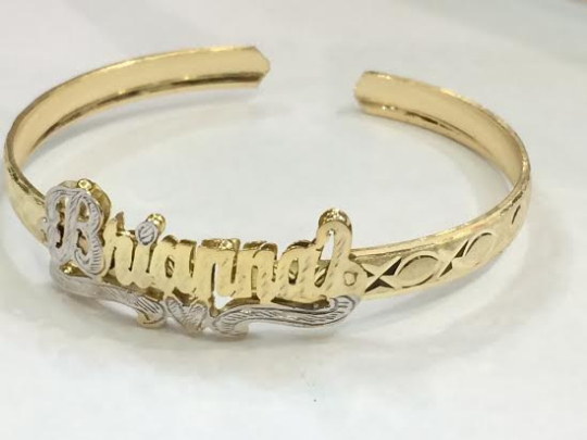 Personalized  Adult 14K Gold Plate any Double Plate ADJUSTABLE 3D Name Bracelet bangle/Gold overlay