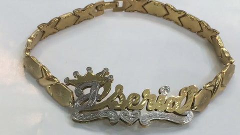 Personalized 14K Gold Overlay Any Double Name Plate XOXO Bracelet + Crown/ Huggs and Kisses