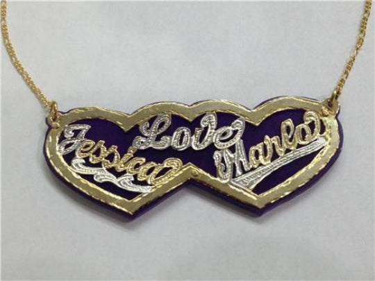 Personalized 14k Gold Plate Any 2 Names Heart Love