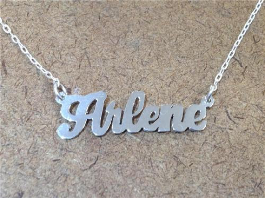 Personalized .925 Sterling Silver Any Name Single Plate Nameplate Necklace (comes with the Chain )3