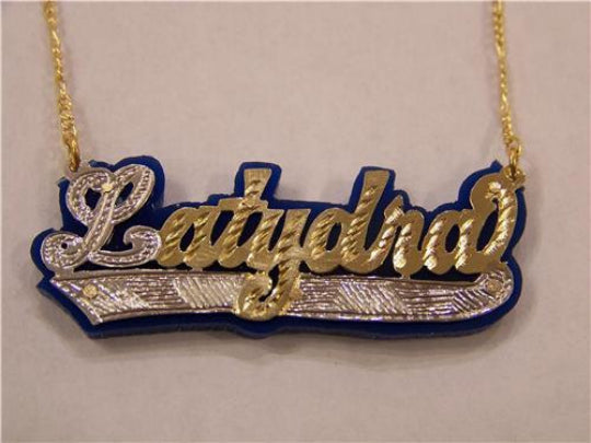 Personalized 14k Gold Plate Any Name Any Color Onyx Nameplate Necklace (comes with the Chain )1