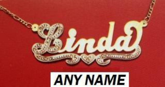 14k Gold Plate Personalized Any Name Single Plate Nameplate Necklace (comes with the Chain )11