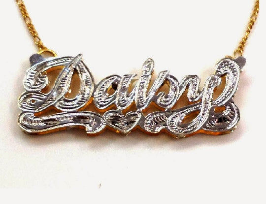 Personalized 14k Gold Overlay/ Silver Plate Double 3D Any Name Plate Necklace Free Chain/ Gold Plated Dipped in White Gold/f7