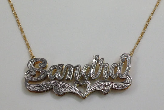 Personalized 14k Gold Overlay/ Silver Plate Double 3D Any Name Plate Necklace Free Chain/ Gold Plated Dipped in White Gold/f5