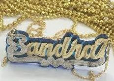 Personalized 14k Gold Overlay Double Any Name Plate Necklace Any Color Onyx Back
