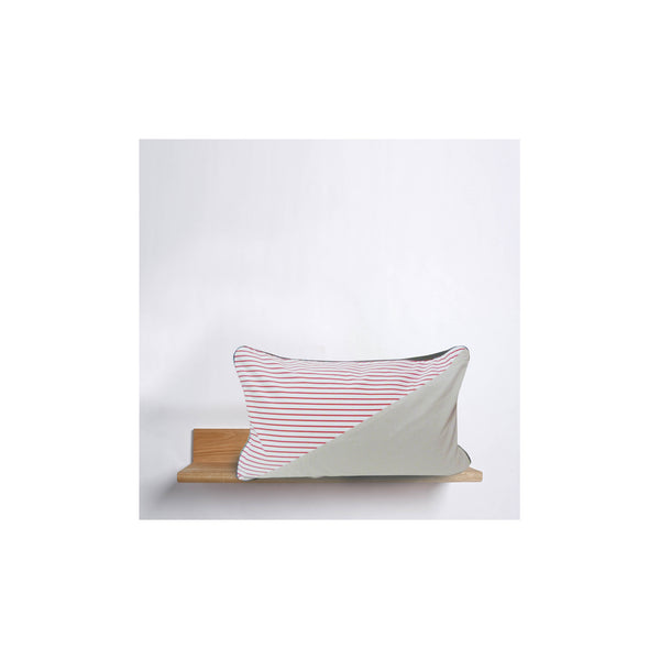 AWOW009_'Stripes': red canvas and cream cotton cushion 65cm x 40cm