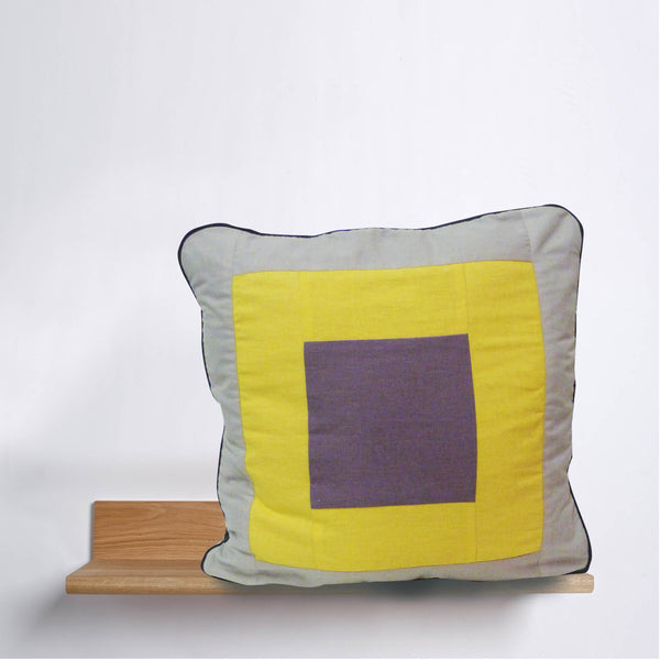 AWOW010_'Squares': Yellow, Lilac & Cream linen and cotton cover 65cm x 65cm, geometric design, with piping