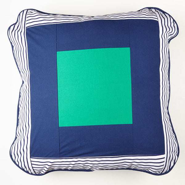 AWOW004_'Squares' : Nautical striped, navy and pop green cover 65cm x 65cm, geometric design, with piping