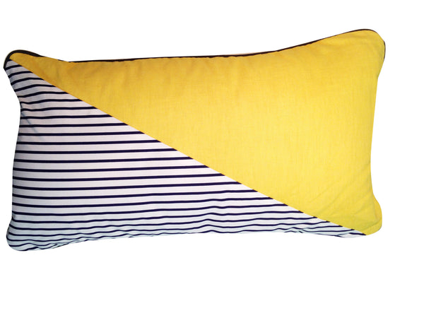 AWOW008_'Stripes': canvas and Yellow linen cushion 65cm x 40cm