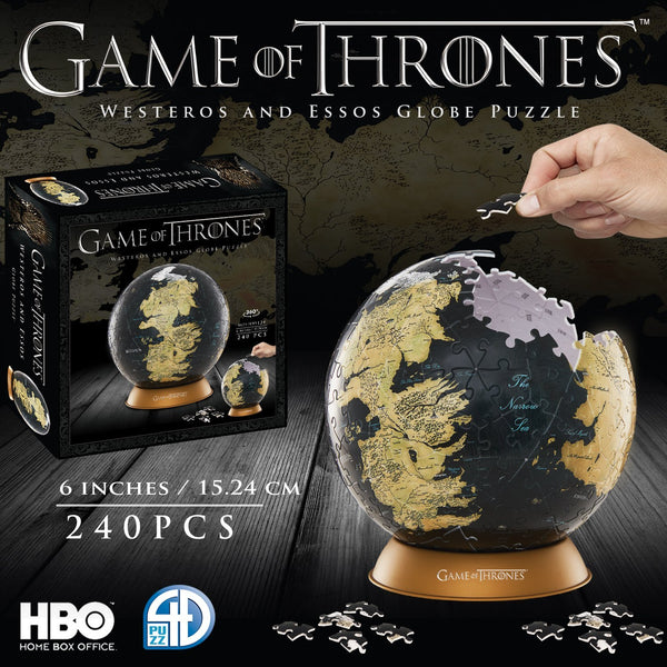"4D Cityscape Game of Thrones 3D 6"" Globe Puzzle (240 pieces), Popular Characters- Have a Blast Toys & Games"