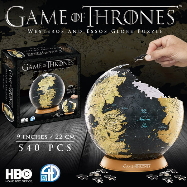 "4D Cityscape Game of Thrones 3D 9"" Globe Puzzle (540 pieces), Popular Characters- Have a Blast Toys & Games"