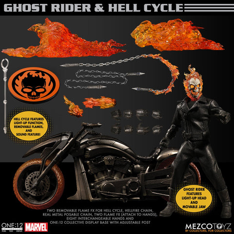 Mezco One:12 Collective Ghost Rider & Hell Cycle Action Figure Set