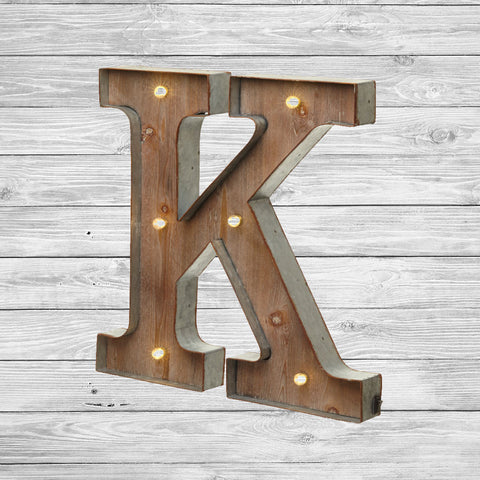 freestanding wooden rustic led light up letters 16 tall k