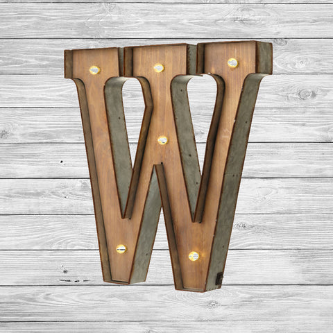 W Up Letters | Freestanding Wooden Rustic Led Light Up Letters 16 Tall W