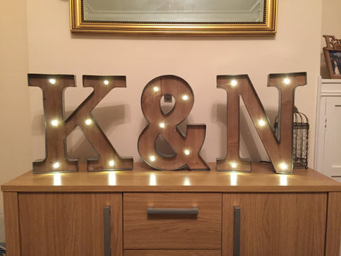 Freestanding Initials Wooden Rustic 16 Led Light Up Letters