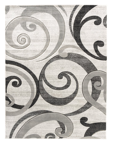 Grey Swirls Hand-Carved Soft Living Room Area Rug