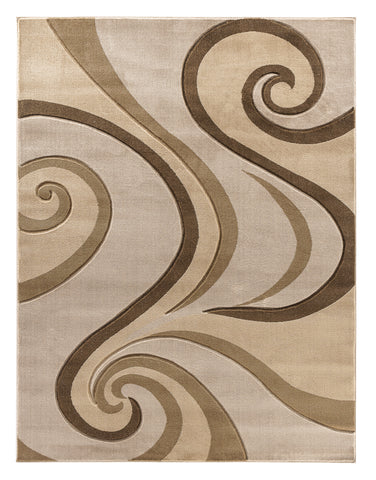 Beige Swirls Hand-Carved Soft Living Room Area Rug