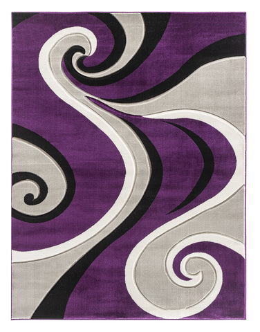 Purple Swirls Hand-Carved Soft Living Room Area Rug