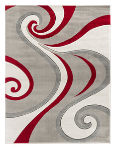 Red Swirls Hand-Carved Soft Living Room Area Rug