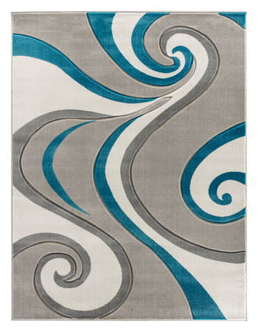 Turquoise Swirls Hand-Carved Soft Living Room Area Rug