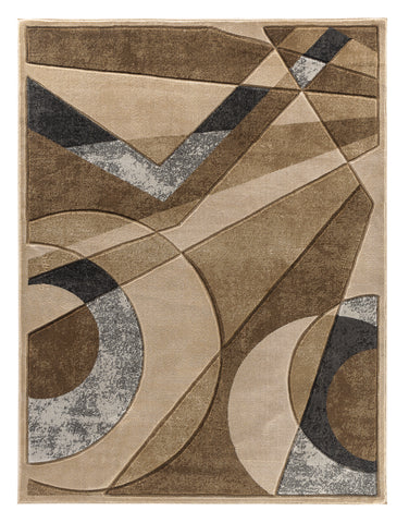 Beige Geometric Hand-Carved Soft Living Room Area Rug