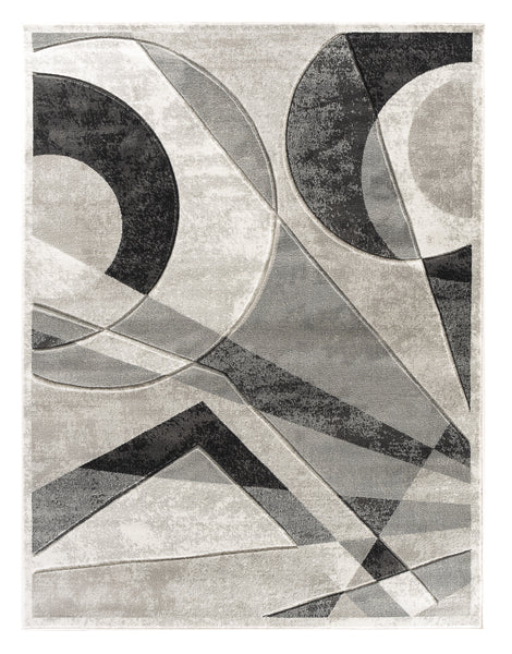Grey Silver Geometric Hand-Carved Soft Living Room Area Rug