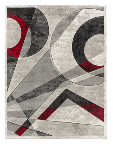 Silver Red Geometric Hand-Carved Soft Living Room Area Rug