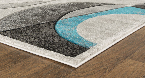 Turquoise Geometric Hand-Carved Soft Living Room Area Rug