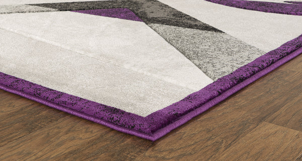 Purple Geometric Hand-Carved Soft Living Room Area Rug