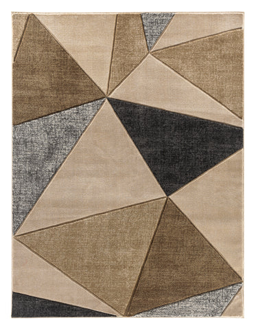 Beige Grey Geometric Triangles Hand-Carved Soft Living Room Area Rug
