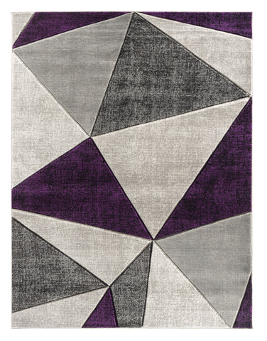 Purple Geometric Triangles Hand-Carved Soft Living Room Area Rug